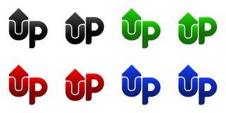 Arrow UP, up button. Logotype design Stock Photos