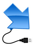 Arrow with USB cable Stock Images