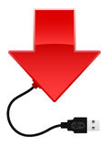 Arrow with USB cable Royalty Free Stock Image