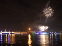 Arrow of Vasilevsky island with firework Royalty Free Stock Photography