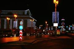 Arrow of Vasilevsky island in the night, illuminated in festive Christmas lights. Royalty Free Stock Image