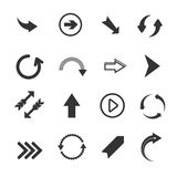 Arrow vector signs icons. Arrow icons. Vector set of round arrows, undo and redo signs, recycling arrows on white background Stock Photo