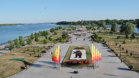 The arrow of the Volga in Yaroslavl, panorama, June 5, 2019. stock footage