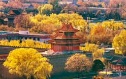 Arrow Watch Tower Gugong Forbidden City Palace Beijing China. Arrow Watch Tower Palace Wall Autumn Gugong Forbidden City Palace Beijing China. Emperor& x27;s royalty free stock photography