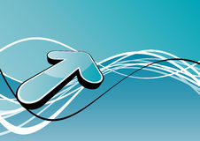 Arrow with waves. Computer generated blue arrow with wave lines in background vector illustration