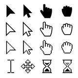 Arrow web cursors, digital hand pointers vector black pictograms. Arrow cursor pixel digital, web pointing and hourglass illustration Royalty Free Stock Images