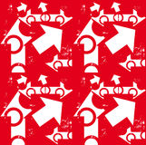 Arrow white & grunge on red seamless pattern. Contrast Stock Photos
