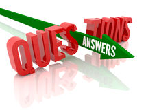 Arrow With Word Answers Breaks Word Questions. Stock Image