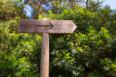 Arrow wooden track blank road sign in Mediterranean Stock Images