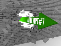 Arrow with word Attempt#7 breaking brick wall. Royalty Free Stock Images