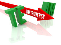 Arrow with word Controversy breaks word Team. Stock Image