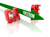 Arrow with word Freedom breaks word Cage. Stock Photos