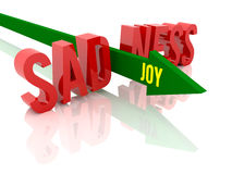 Arrow with word Joy breaks word Sadness. Concept 3D illustration Stock Photo