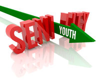 Arrow with word Youth breaks word Senility. Concept 3D illustration stock illustration