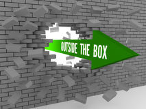 Arrow with words Outside The Box breaking brick wall. Concept 3D illustration Stock Photo