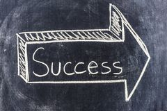 Arrow for success sketched on blackboard. An arrow with the write Success is sketched in 3 dimensions on a blackboard royalty free stock images