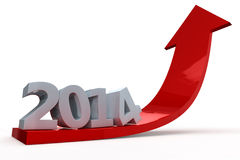 Arrow with year 2014 pointing up. Red 3D arrow with year 2014 pointing up stock illustration