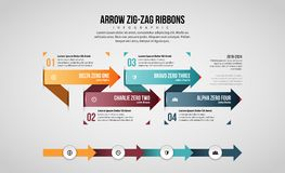 Arrow Zig-Zag Ribbons Infographic Royalty Free Stock Photography