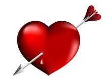arrowed красный цвет сердца Стоковые Фото
