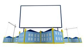 arrowed building and billboard Stock Photo