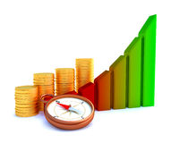 Arrowed business chart Stock Photos