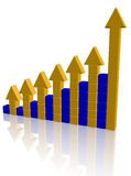 Arrowed chart bar. Over white Stock Image