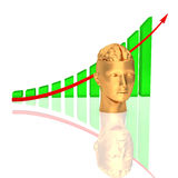 Arrowed chart - brain Royalty Free Stock Image