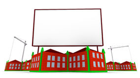 Arrowed Gebäude und Anschlagtafel Stockfotos