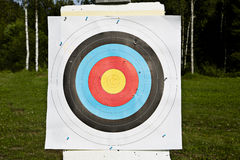 Arrowes target is with holes hanging Royalty Free Stock Images