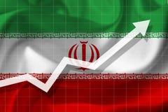 Arrowgrowth omhoog op de achtergrond van de vlag van Iran vector illustratie
