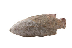 Arrowhead. Native American arrowhead found in Eastern Kentucky isolated on a white background. Clipping path included Royalty Free Stock Images