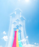 Arrowheads fly upward to sky Stock Photos