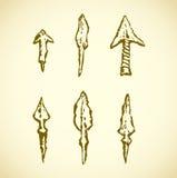 Arrowheads. Vector in engraving style Stock Photos