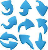 Arrows. Set of  blue 3d arrows Stock Photography