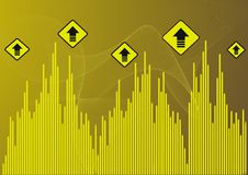 Arrows. Yello background with up arrows Royalty Free Stock Images