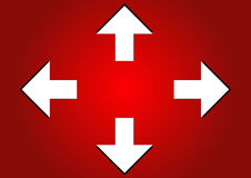 Arrows. Four white arrows in red background eps Royalty Free Stock Photos