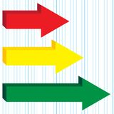 Arrows. Illustration of red, yellow and green arrows on graph paper - Vector royalty free illustration