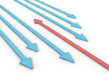 Arrows. Illustration of a red arrow against many blue Stock Image