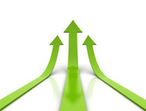 Arrows. 3D render of green arrows going upwards