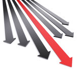 Arrows. Conceptual image of black and one red arrows Stock Photos