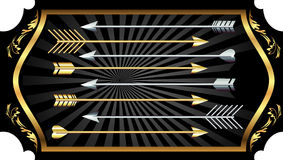 Arrows. Abstract arrows on the black background with ornament Royalty Free Stock Photo