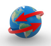 Arrows. And Earth globe. 3d render illustration Royalty Free Stock Photos