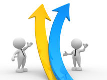 Arrows. 3d people - men, person  and a graph arrow. Business partners Stock Photo