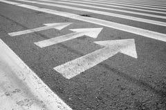 Arrows. White arrows at the asphalt stock photo
