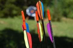 Arrows. Archery arrows with colorful feather - target in background Royalty Free Stock Photos