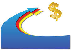 Arrows with 3D dollar. Blue red and yellow arrows with a 3D dollar sign Royalty Free Stock Photography