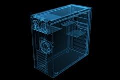 Arrows 3D xray blue. ATX MID TOWER CASE 3D xray blue transparent Stock Photo