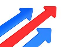 Arrows. Red and blue arrow on white stock illustration