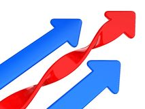 Arrows. Blue arrows and screw red arrow Stock Photos
