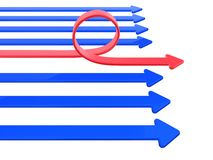 Arrows. Blue and one red bend arrow Stock Images